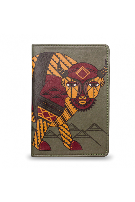 Eco-leather passport cover with bison