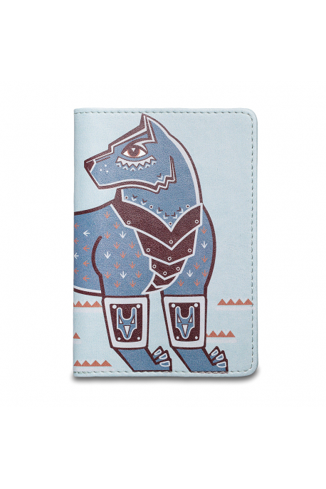 Eco-leather passport cover with wolf
