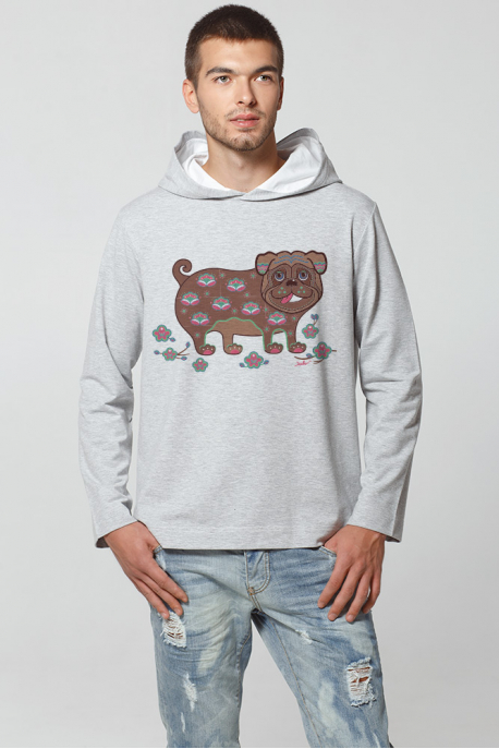 Men's hoodie with pug print