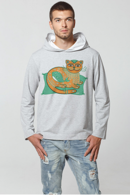 "Men's Hoodie ""Emerald Cat-Whale"""