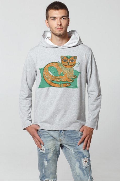 Grey Hoodie with Cat print
