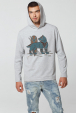 Grey Men's Hoodie with Wolf