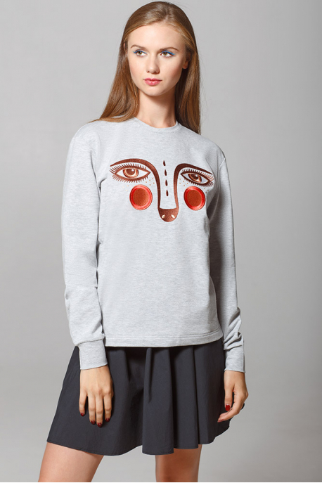 Grey Women's Sweatshirt with Embroidered Eyes