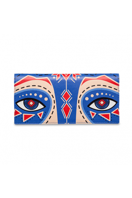 Ticket case with eyes of cornflower raccoon
