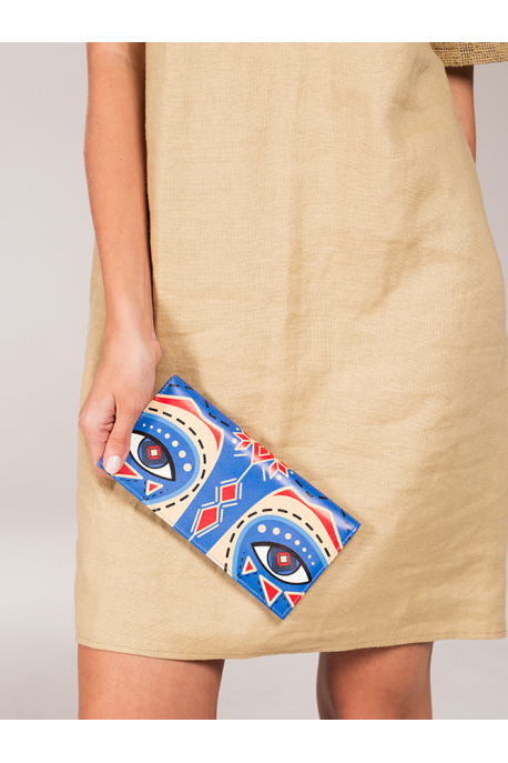 "Leather wallet Dyvooo look ""Cornflower raccoon"""