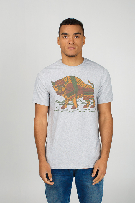 Grey men's t-shirt with Ukrainian bison